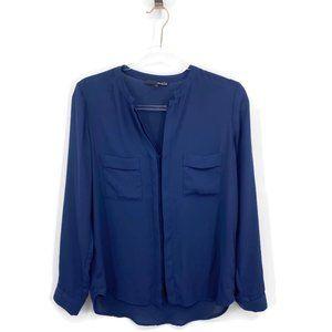 Anthropologie Ro De Button Front Blouse Top S Blue